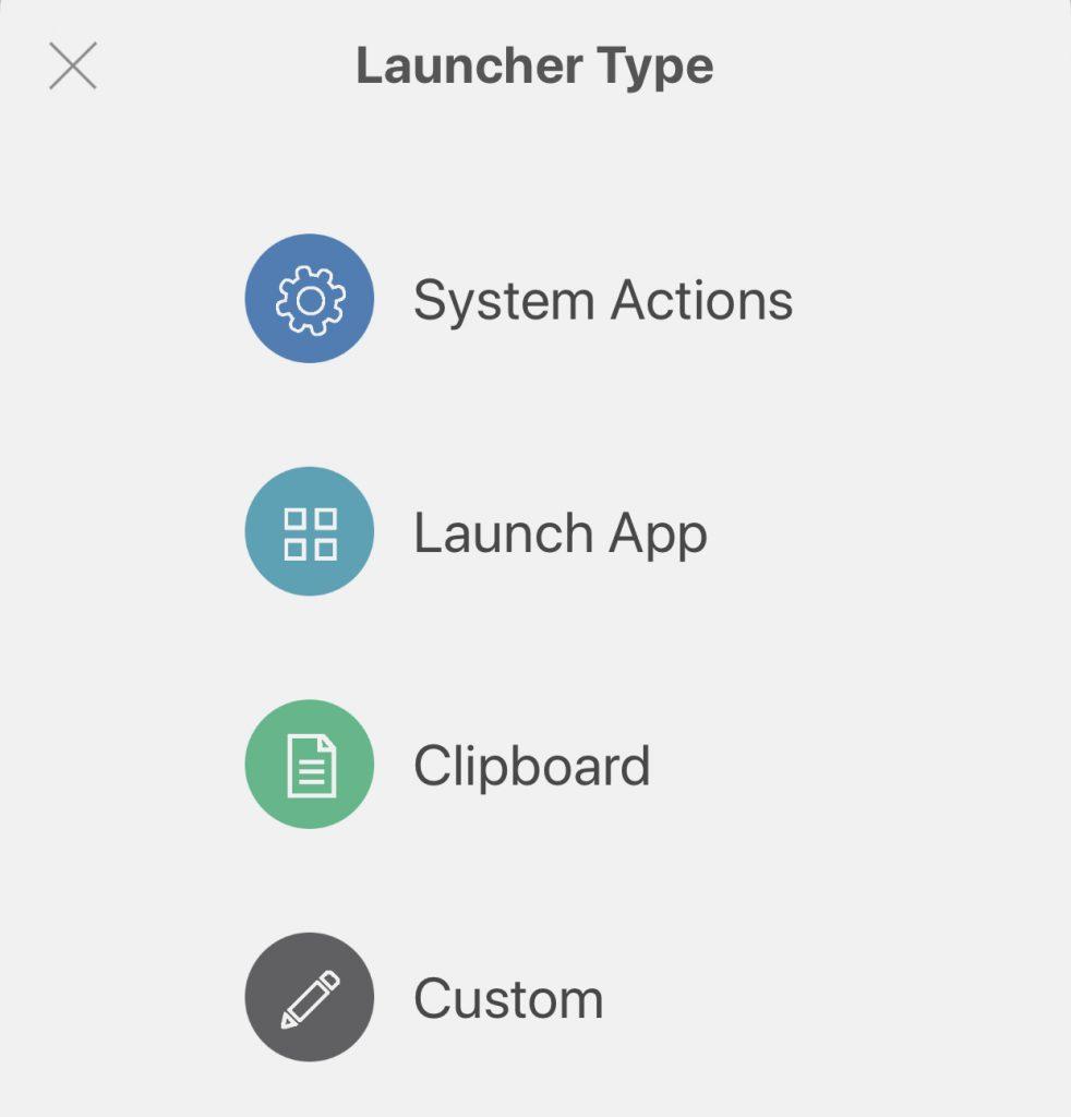 Launch actions menu