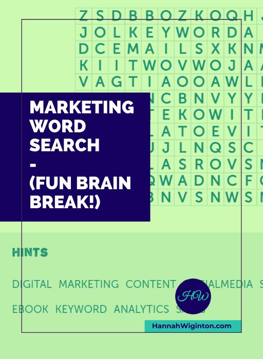 marketing word search - fun brain break