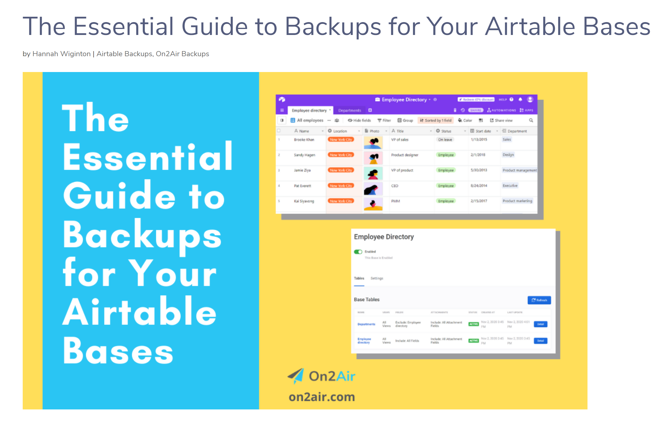 Article – Essential Guide to Backups for Airtable